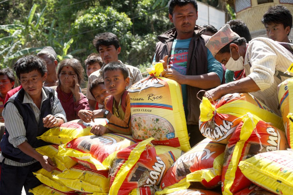 Aid delivered by ActionAid staff to Mahankal village in Nepal. Photo: Srikanth Kolari