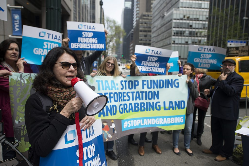 "A group of protestors hold a sign that reads, ""TIAA: STOP FUNDING DEFORESTATION AND GRABBING LAND"""