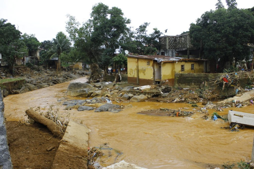 Remnants of a home destroyed by mudslides in Sierra Leone.