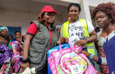 Women affected by the flooding and landslides in Freetown, Sierra Leone, receive dignity kits distributed by ActionAid.