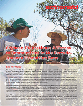 Soybean Plantations: A Threat to Communities in the Cerrado Amazon Transition Zone