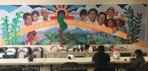 Mural in migrant shelter