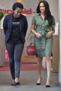 Duchess of Sussex Meghan Markle (right) speaks with ActionAid South Africa Country Director Nondumiso Nsibande (left).