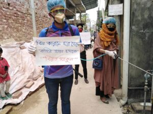 Youth activists in Bangladesh sanitize public spaces while communicating best practices for health and hygiene in the midst of coronavirus