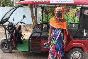 Electric rickshaw driver Laxmi is volunteering her time and services for ActionAid's coronavirus response in Bhopal, India.