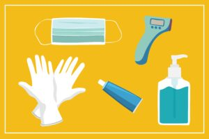 Graphic of a hygiene kit to help stop the spread of coronavirus