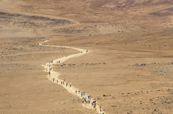 "Heading across ""The Saddle"" toward Kilimanjaro's summit. Photo: Georgina Goodwin/ActionAid"