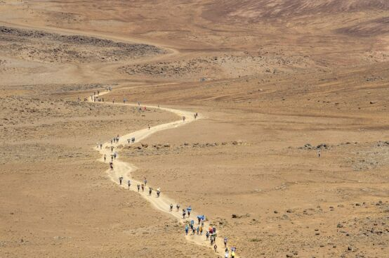 "Heading across ""The Saddle"" toward Kilimanjaro's summit. Photo: Georgina Goodwin/ActionAid"