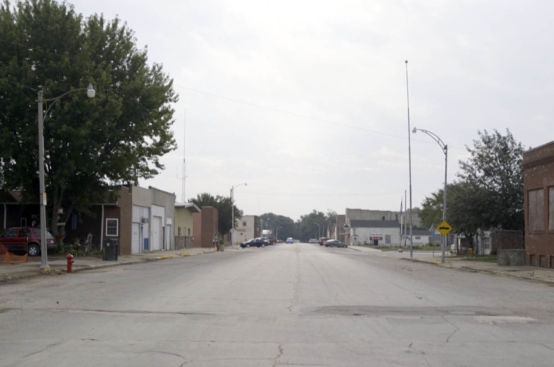 An empty street in rural Iowa.